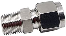 Metalwork 304 Stainless Steel Metric Compression Tube Fitting 2 Pcs Adapter Male Connector 3//8 NPT Male x 10mm OD