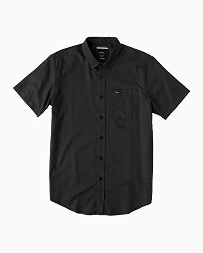 RVCA Men's Thatll Do Oxford Short Sleeve Woven Shirt, Pirate Black, X-Large