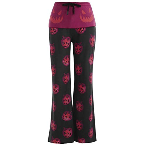 Draw A Pumpkin For Halloween (FKSESG Yoga Pants for Women Plus Size Drawstring Halloween Pumpkin Print Casual Leggings Pants)