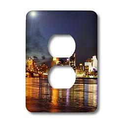 3dRose LLC lsp_61681_6 Cincinnati Skyline At Night 2 Plug Outlet - Outlets Cincinnati