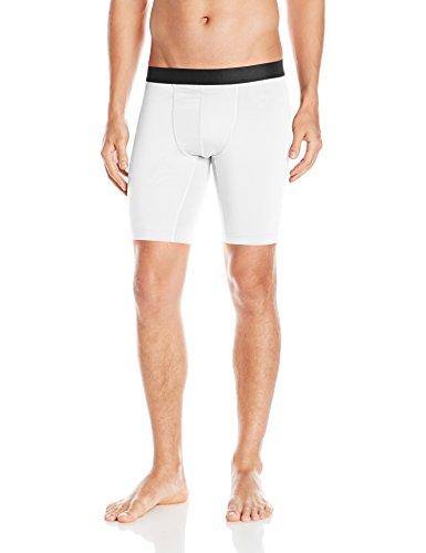 Hanes Men's Sport Performance Compression Short, True White/Ebony, Medium