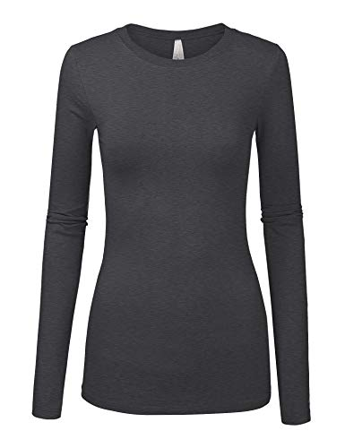 (Womens Basic Solid Multi Colors Slim Fit Long Sleeve Round Neck Top)