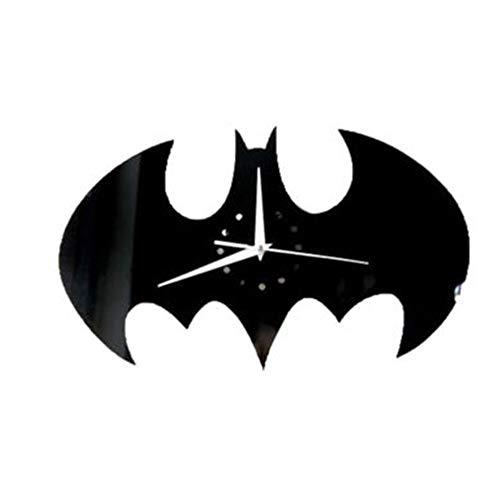 Springdoit DIY Batman Wall Clock Wall Sticker Wallpaper, Detachable 3D Mirror Mural Applique Home Decoration (Black)]()