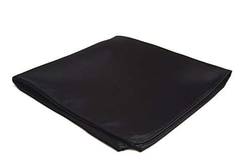 Jacob Alexander Men's Pocket Square Solid Color Handkerchief - Black