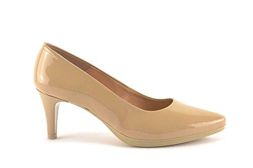 ConBuenPie by Chamby - New Collection - Zapato con tacón de piel Charol en Negro y Nude Nude