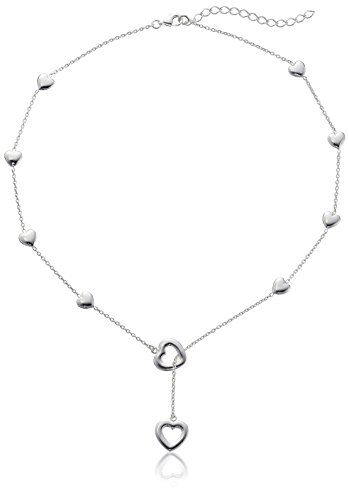 Sterling Silver Heart Stations Lariat Necklace, 18