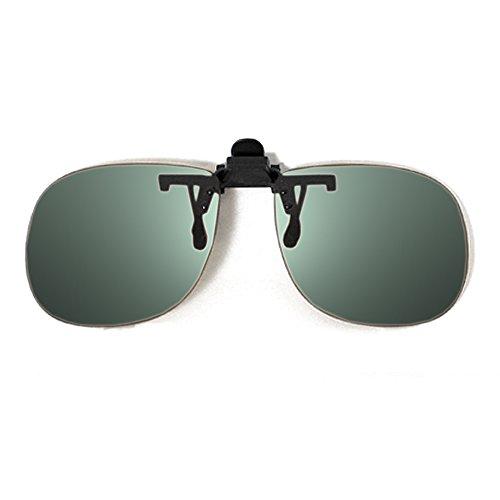 Calabria Aviator Polarized Flip-Ups 60mm CME48 with Grey - Up Flip Attachment Sunglasses