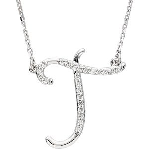 sterling silver alphabet initial letter t diamond necklace 17 18 ct
