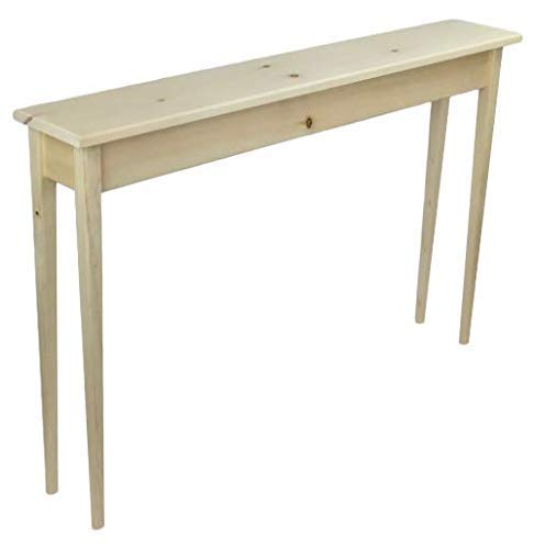 46 Unfinished Pine Narrow Tapered Leg Console Sofa Table