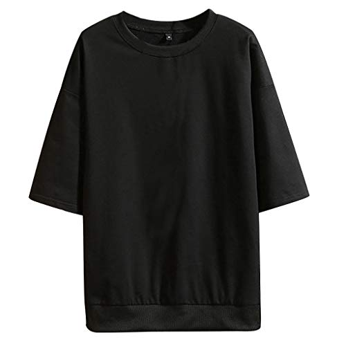 Men's Summer Blouse Fashion Casual Pure Color O-Neck Half Sleeves T-Shirts Tops Black