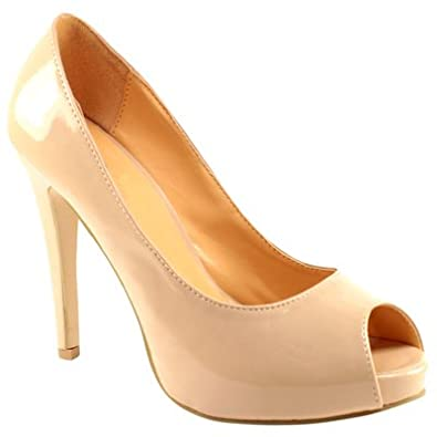 Womens Nude High Heel Court Shoes: Amazon.co.uk: Shoes &amp Bags