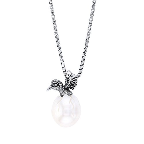 (Galatea Sterling Silver Hand-Carved Freshwater Cultured White Pearl Hummingbird Pendant Necklace,)