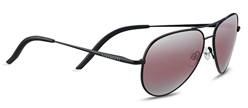 Serengeti Satin Sunglasses - Serengeti Carrara Small Polarized Sedona Bi Mirror, Satin Black