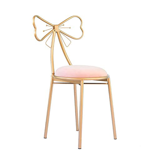 - ENCOUNTER-G Princess Style Makeup Stool Iron Art Nail Chair Modern Simplicity Dining Bench Velvet Cloth Padded Bedroom Gold Chair Pink Butterfly