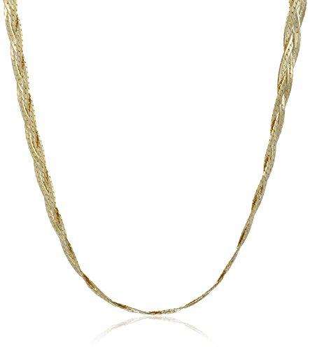 Strand 14k Three Gold (14k Yellow Gold Italian 3-Strand Diamond Cut Braided Herringbone Necklace, 18