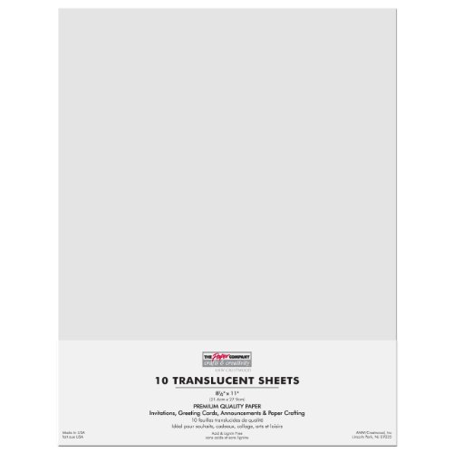 Alabaster Paper - Paper Company Translucent Sheets 8-1/2-Inch by 11-Inch, 10/Pkg, Alabaster