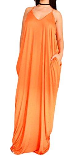 Grande Tang Des Femmes De Robe À Fines Bretelles Dos Nu Robe Maxi Longue Encolure En V D'orange