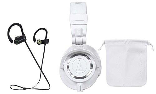 (Audio Technica ATH-M50XWH Over Ear Pro Studio Monitor White Headphones+ Earbuds)