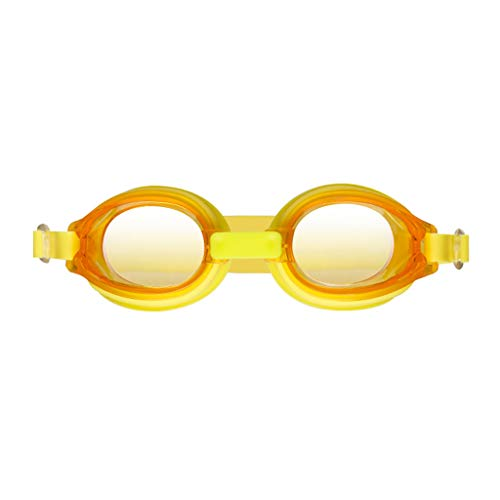 LAOMAUTO Kids Swim Goggles, Swimming Glasses for Children and Early Teens from 5 to 12 Years Old, Anti-Fog, Waterproof, UV Protection - Nosepiece Yellow