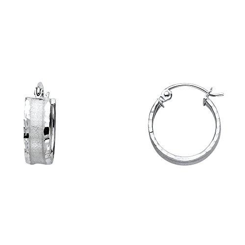 14k White Gold Matte Finish Center Hoop Earrings (Center Matte Gold 14k)