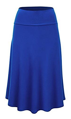 Sweethabit Womens Regular and Plus Size Solid Flare Midi Skirt(S1236) (Royal Blue, Large) Blue Skirt Outfit