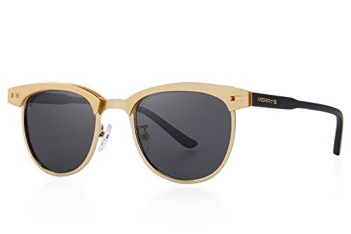 MERRY'S Semi Rimless Polarized Sunglasses Women Men Retro Brand Sun Glasses S8116 (Gold, - Gold Wayfarer