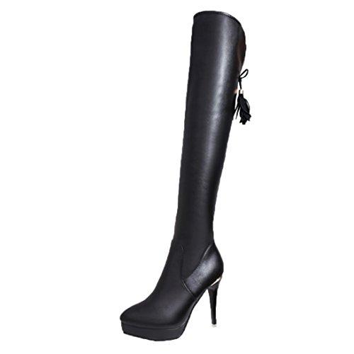 Damen Overknee Stiefel Upxiang Stiletto Heels Quaste Hohe Stiefel Gummiband Knie Heels Damen Stiefel Hochhackige Wasserdichte Winter Warme Schuhe Schwarz
