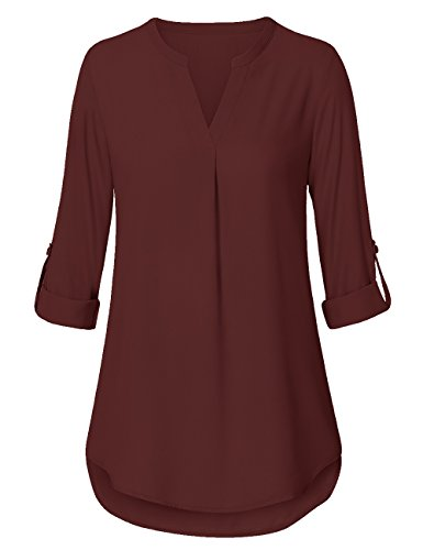 al Chiffon V Neck Cuffed Sleeve Solid Blouse Top Burgundy Small (6 Womens Designer Blouse)