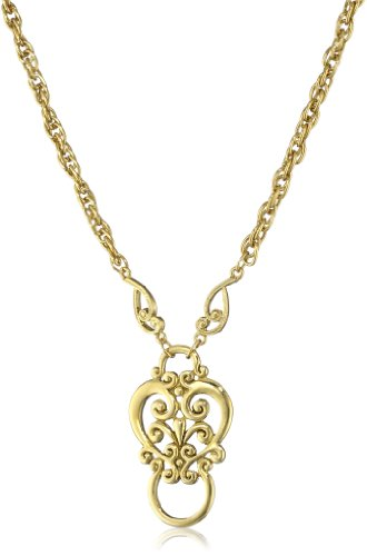 1928 Jewelry Gold-Tone Heart Eyeglass Holder Pendant Necklace, 28