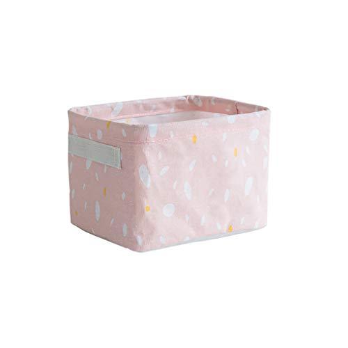 Elevin(TM)  Home Fabric Basket Box Storage Ornaments Linen Cosmetic Case Desktop Stationery (Pink)