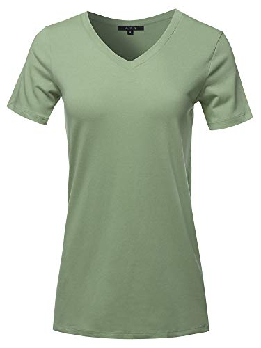 Basic Solid Premium Cotton Short Sleeve V-Neck T Shirt Tee Tops Light Olive L