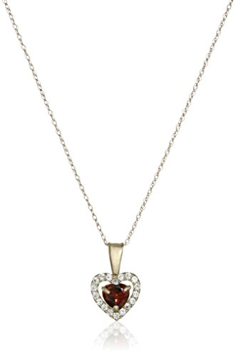 10k Yellow Gold Heart Garnet and Round Created White Sapphire Pendant Necklace, (Gold Round Garnet Heart)