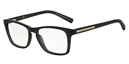 Armani Exchange AX 3012 Unisex Eyeglasses Matte Black Transparent - Armani For Glasses Men Giorgio