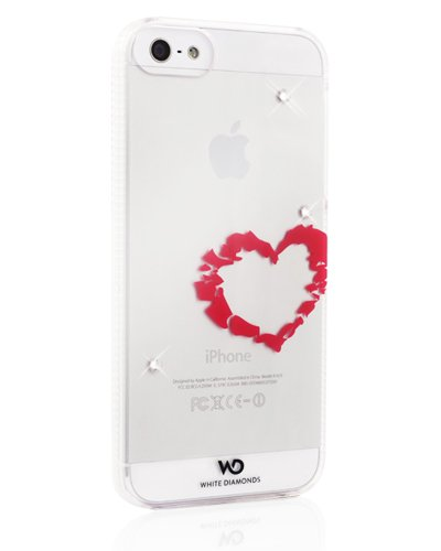 White Diamonds - Lipstick Mirror Case with Swarovski Elements Crystal for Apple iPhone 5 in Heart