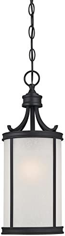 Westinghouse Lighting 6359100 Perchside One-Light, Textured Black Finish with Frosted Seeded Glass Outdoor Pendant