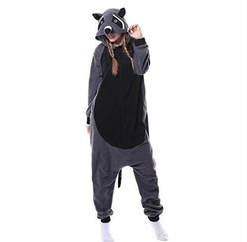 Dames Onesies Pyjama'S,Dames Dier Nachtkleding Wasbeer Onesies Pyjama Grijs Flanel Homewear Anime Cosplay Kostuum Voor…