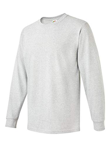 (Fruit of the Loom 5.6 oz Cotton Long Sleeve T-Shirt - ASH - Large)