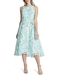 Women's Sleeveless Lace Overlay Flared Skirt Party Dress