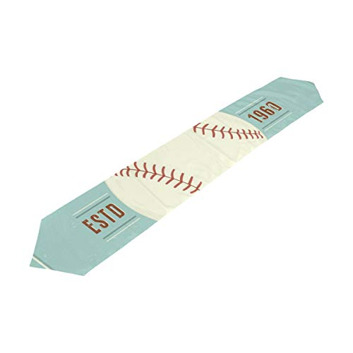 Chu warm Table Runner Vintage Baseball Vector Emblem Home Decor Dresser Scarves Table Cloth Runner Coffee Mat for Wedding Party Banquet Decoration13 x 90 inches -