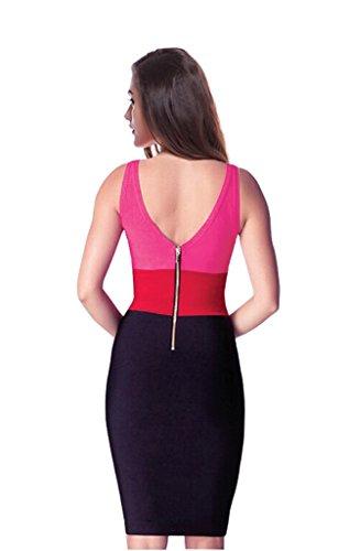 Clubwear Multi Maniche Crc Partito Vestito Colorato Donne Nero collo V Delle Backless Sottile Sexy 1wtzqxxfE