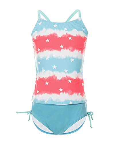(BELLOO Girls Two Piece Swimsuits, Cross Back Swimwear Bathing Suit Blue Stars 14-16)