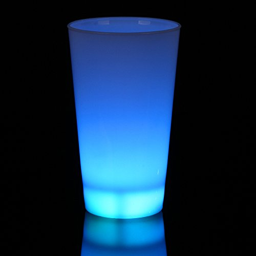 Fun Central I562, 1 Pc 16 oz Blue Glow LED Cup, LED Glasses, LED Drinking Cups, Light up Glasses, LED Cups, LED Glasses Party, Flashing LED Cup for Rave and -