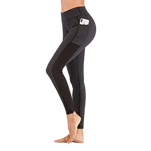TXJ Sports Yoga Legging for Women with Cell Phone Pockets Workout Pants Tummy Control Gym Running Yoga Pants (Dark Grey, M)