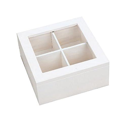 NAN Cuatro compartimentos Pequeño vaso Caja de madera maciza Joyería Decoración Caja de costura de basura