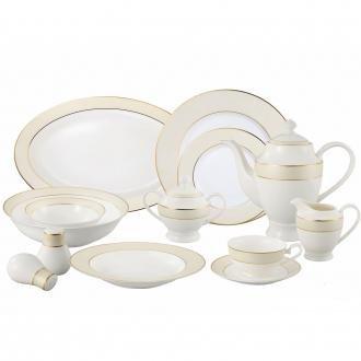 Lorren Home Trends La Luna Bone China 57-Piece Beige Border with 24K Gold Trim Dinnerware Set, Service for 8 ()