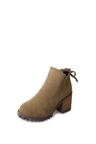LEIT YFF Christmas gifts Women Rough heel Short Boots Bare Boots Lace Comfortable and unique Khaki lKHe6aMih2