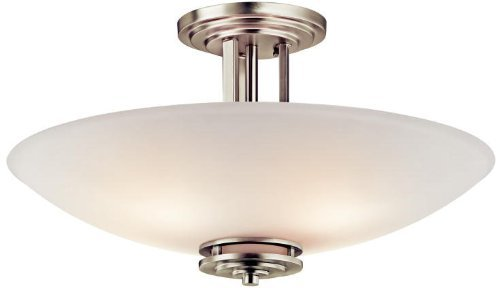 3677NI Hendrik 4LT Semi-Flush, Brushed Nickel Finish with Etched White Glass by Kichler Lighting ()
