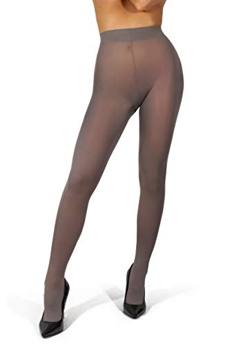 sofsy Opaque Microfibre Tights for Women - Invisibly Reinforced Opaque Brief Pantyhose 40Den [Made In Italy] Grey - Large