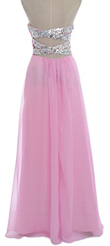 MACloth Women Strapless Chiffon Sequin Long Prom Dress Wedding Party Formal Gown Lavanda