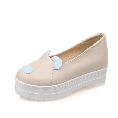 AllhqFashion Damen Gemischte Farbe Hoher Absatz Ziehen auf Rund Zehe Pumps Schuhe Cremefarben